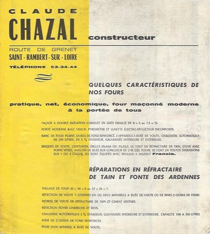 documentation fours à bois chazal 1954